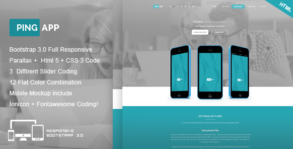 Ping App - One Page App Landing Page - Marketing Corporate