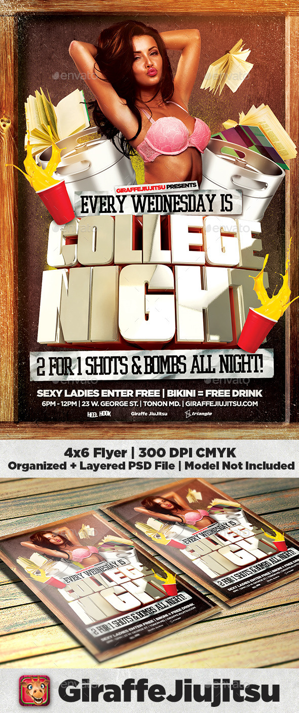 College Night 2 Flyer - Clubs & Parties Events