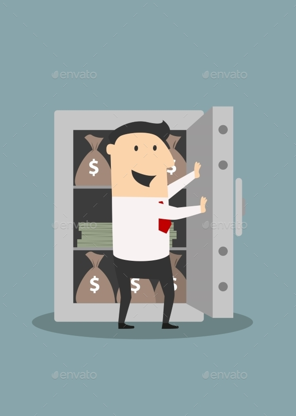 Businessman Opens Safe with Money Stacks - Concepts Business