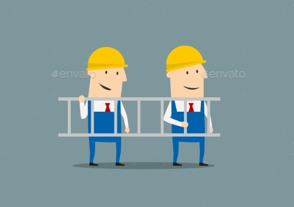 Two Engineers in Overalls Carrying Ladder - People Characters