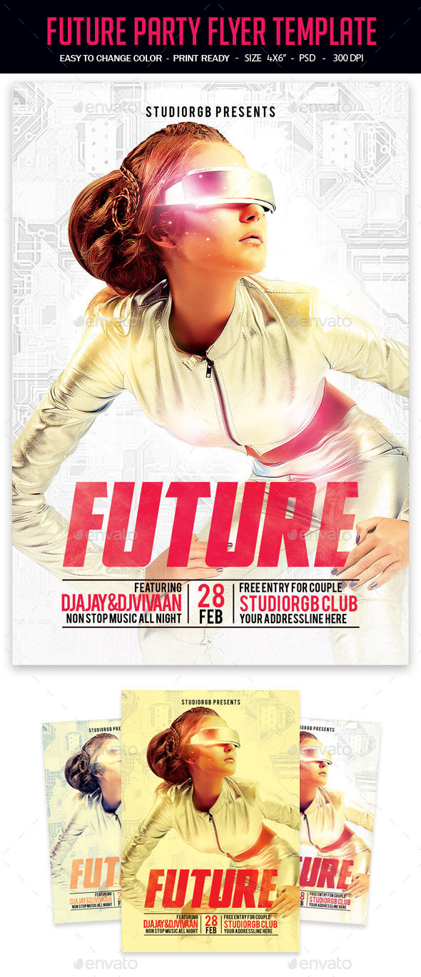 Future Party Flyer Template - Clubs & Parties Events