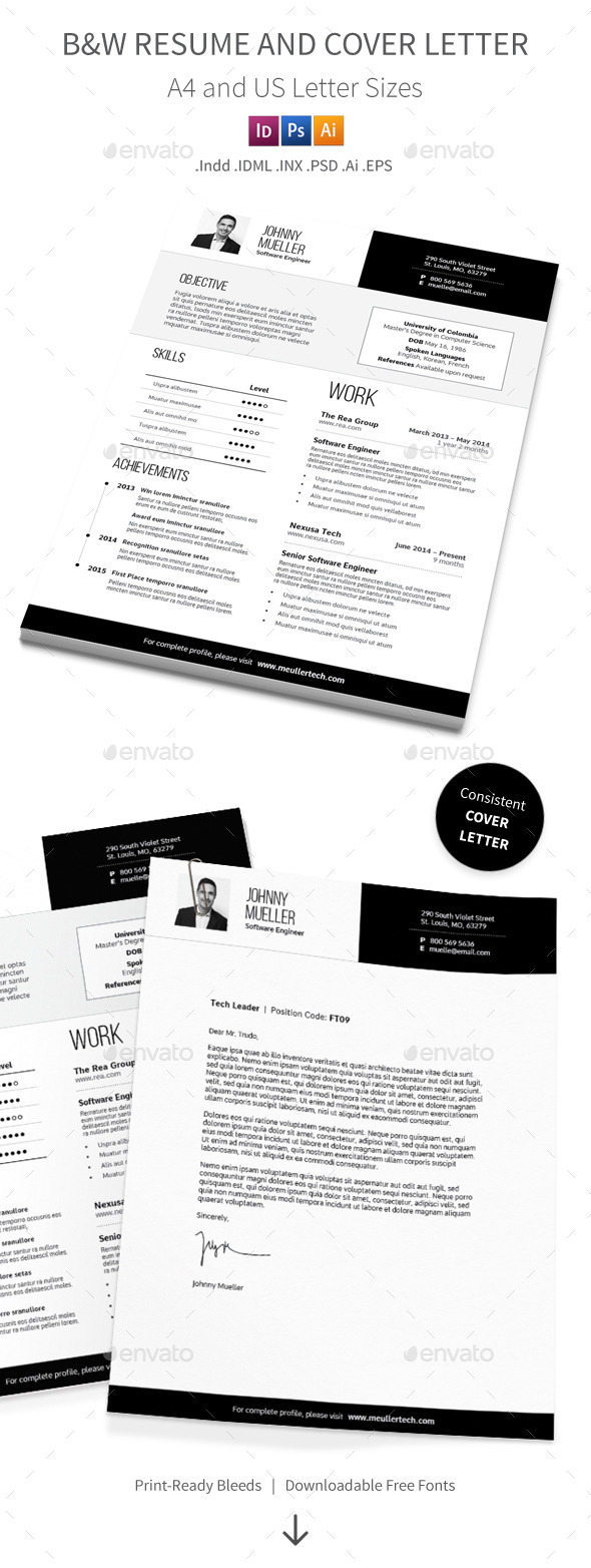 Black and White Resume and Cover Letter - Resumes Stationery
