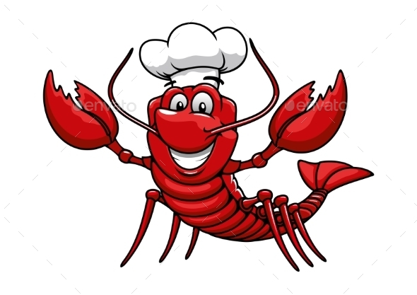 cartoon red lobster chef in toque cap by seamartini Flour De Lis Vintage Fleur De Lis Clip Art