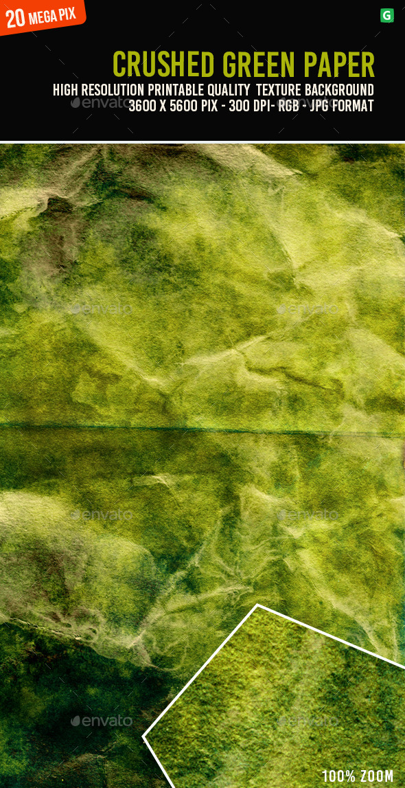 Crushed Green Paper 073 - Paper Textures