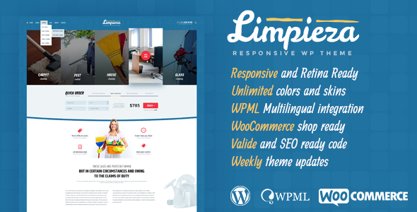 Limpieza Cleaning Company WordPress Theme
