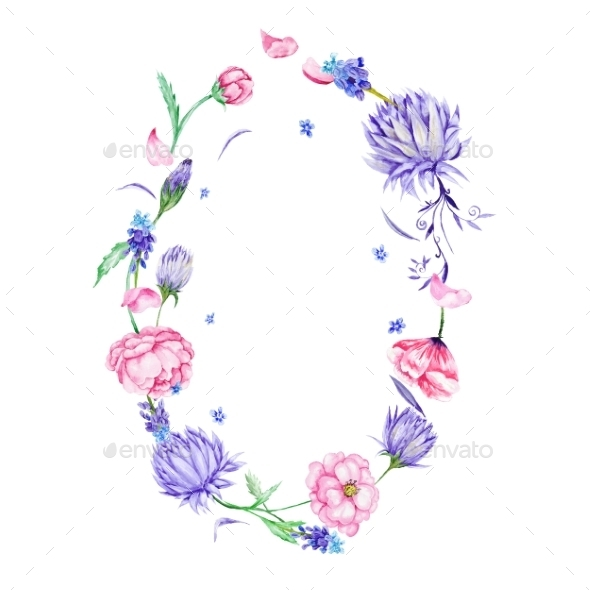 Romantic Watercolor Floral Frame