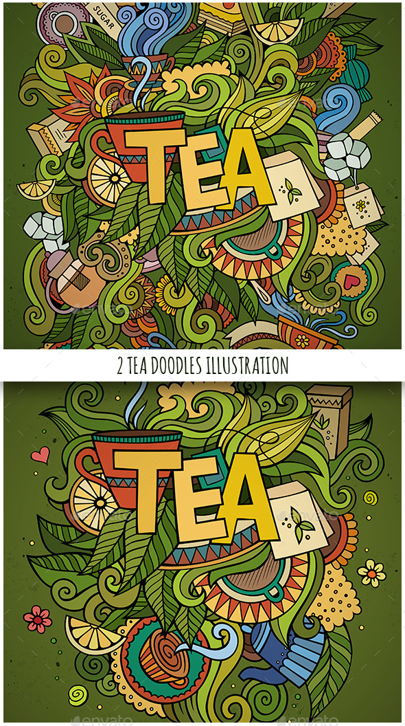 2 Tea Doodles Designs - Conceptual Vectors