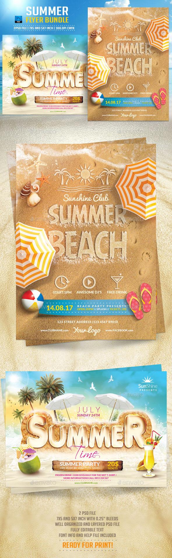 Summer Flyer Bundle - Flyers Print Templates
