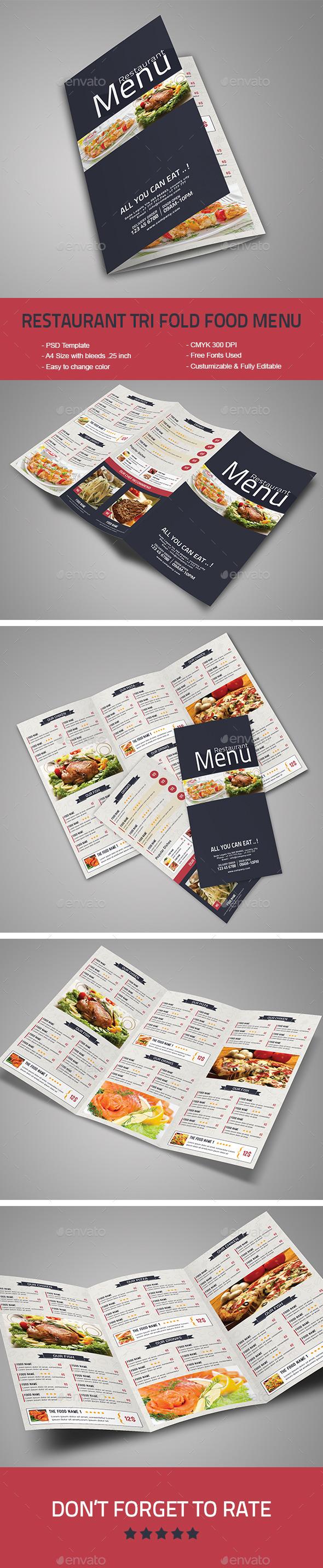 Restaurant Tri-Fold Food Menu - Food Menus Print Templates