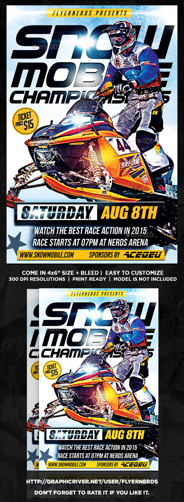 Snow Mobile Championships Sports Flyer - Sports Events