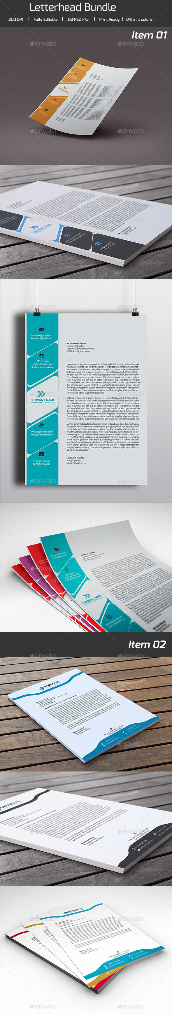 Bundle - 02 in 01 Letterhead Pad - Stationery Print Templates