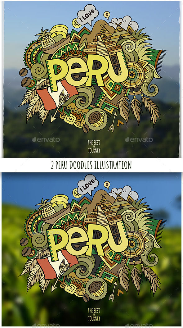2 Peru Doodles Illustrations - Travel Conceptual