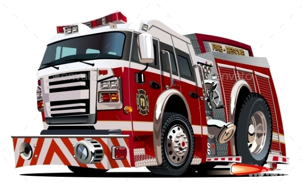 Vector Cartoon Firetruck - Monsters Characters