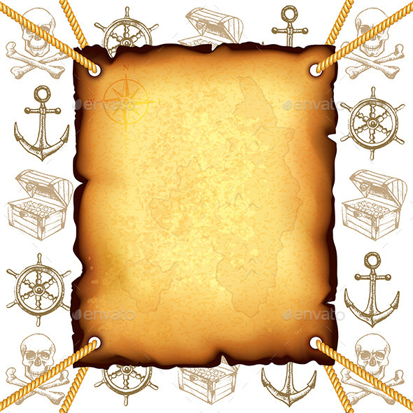 Treasure Map and Pirates Symbols Vector Background - Backgrounds Decorative