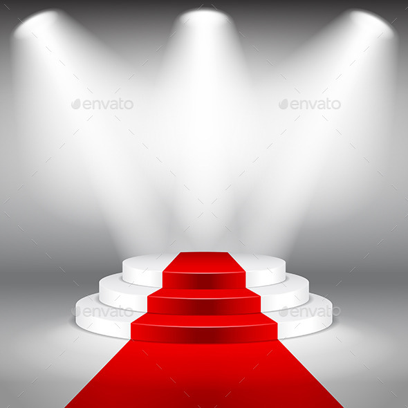 Illuminated Stage Podium with Red Carpet Vector - Miscellaneous Conceptual