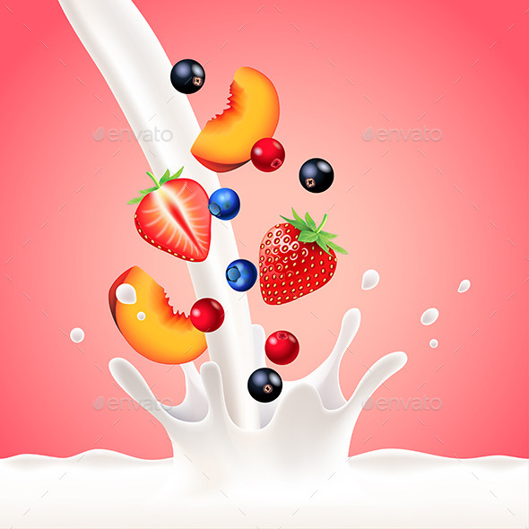 Pouring Milk Splash with Fruits Vector Background - Food Objects
