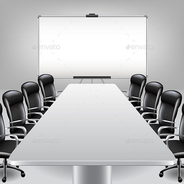 Empty Meeting Room and Presentation Board - Backgrounds Business