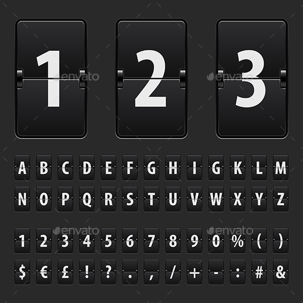 Flip Black Scoreboard Letters, Numbers and Symbols - Backgrounds Decorative
