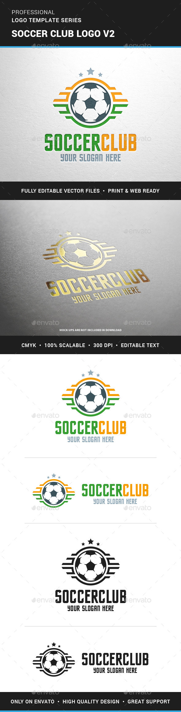 Soccer Club Logo Template v2 - Objects Logo Templates