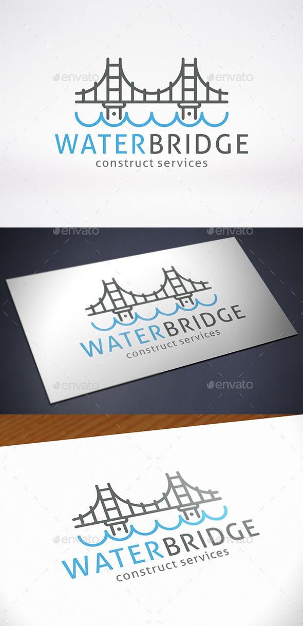 Bridge Water Logo Template - Buildings Logo Templates