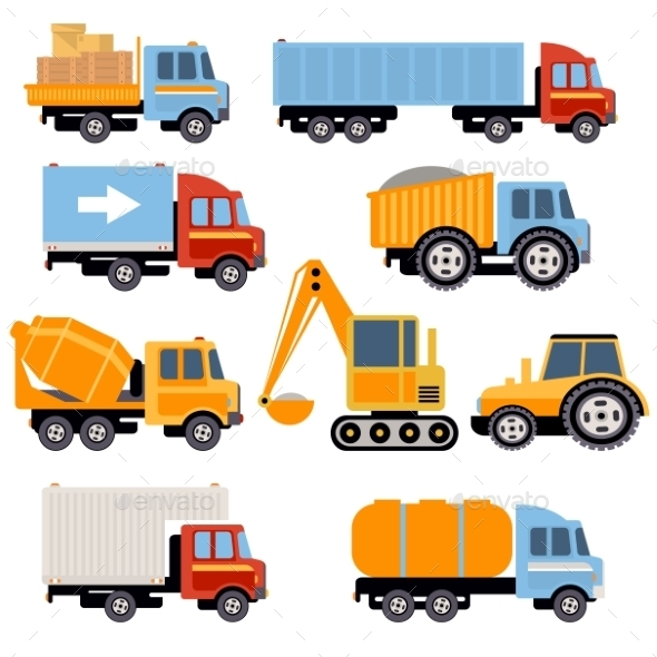 Trucks And Tractors Set Flat Style  - Objects Vectors