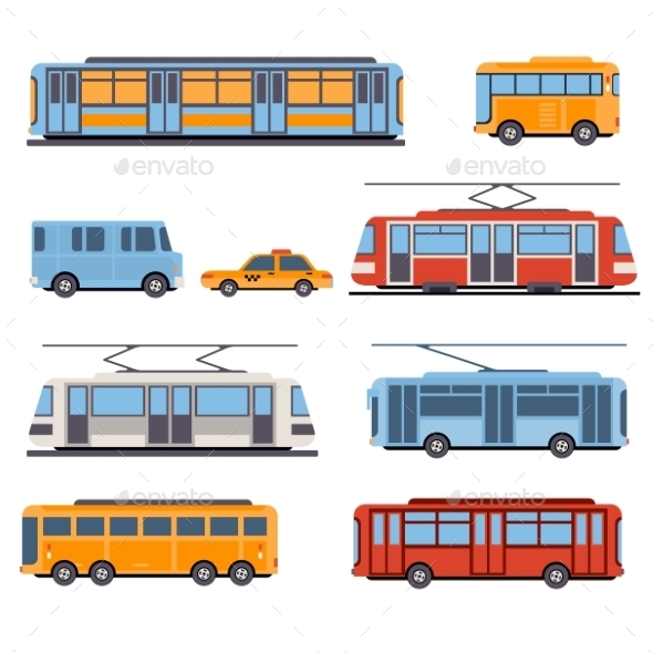 City And Intercity Transportation  - Objects Vectors