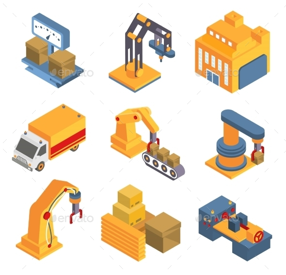 Isometric Factory Flowchart With Robotic Machinery - Objects Vectors