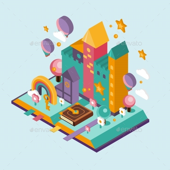 Open Book With Set Of Vector Fairy Tale Elements - Miscellaneous Vectors