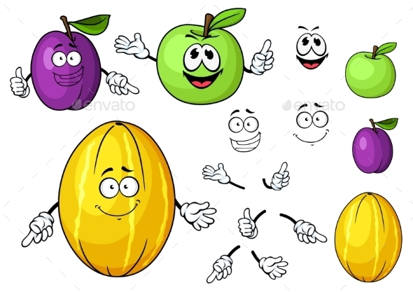 Cartoon Juicy Green Apple, Melon And Plum Fruits - Food Objects