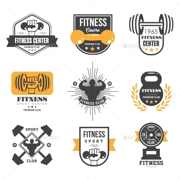 Sport And Fitness Logo Templates, Gym Logotypes - Miscellaneous Vectors
