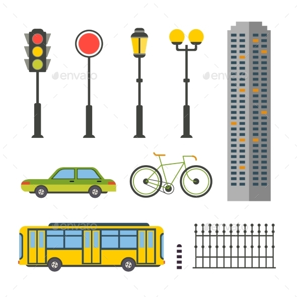 Design Elements For City Illustration Or Map - Objects Vectors