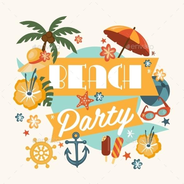 Beautiful Beach Party Design  - Miscellaneous Vectors