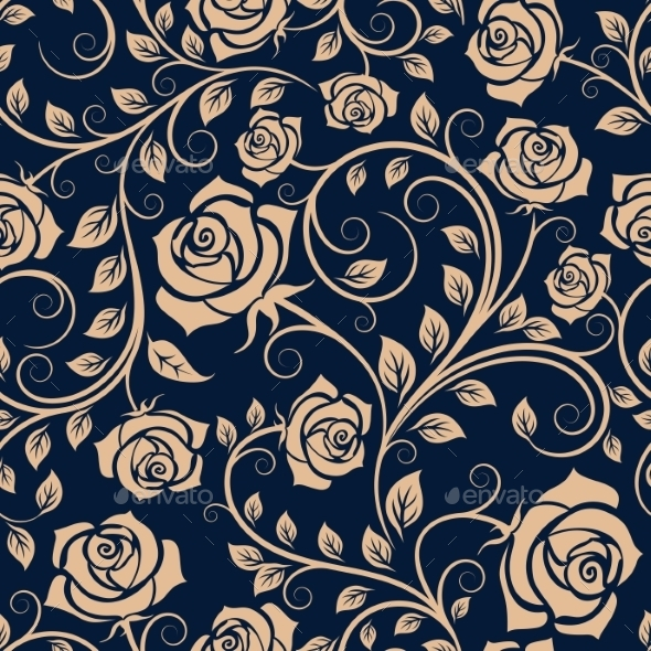 Twisted Blooming Roses Seamless Pattern - Backgrounds Decorative