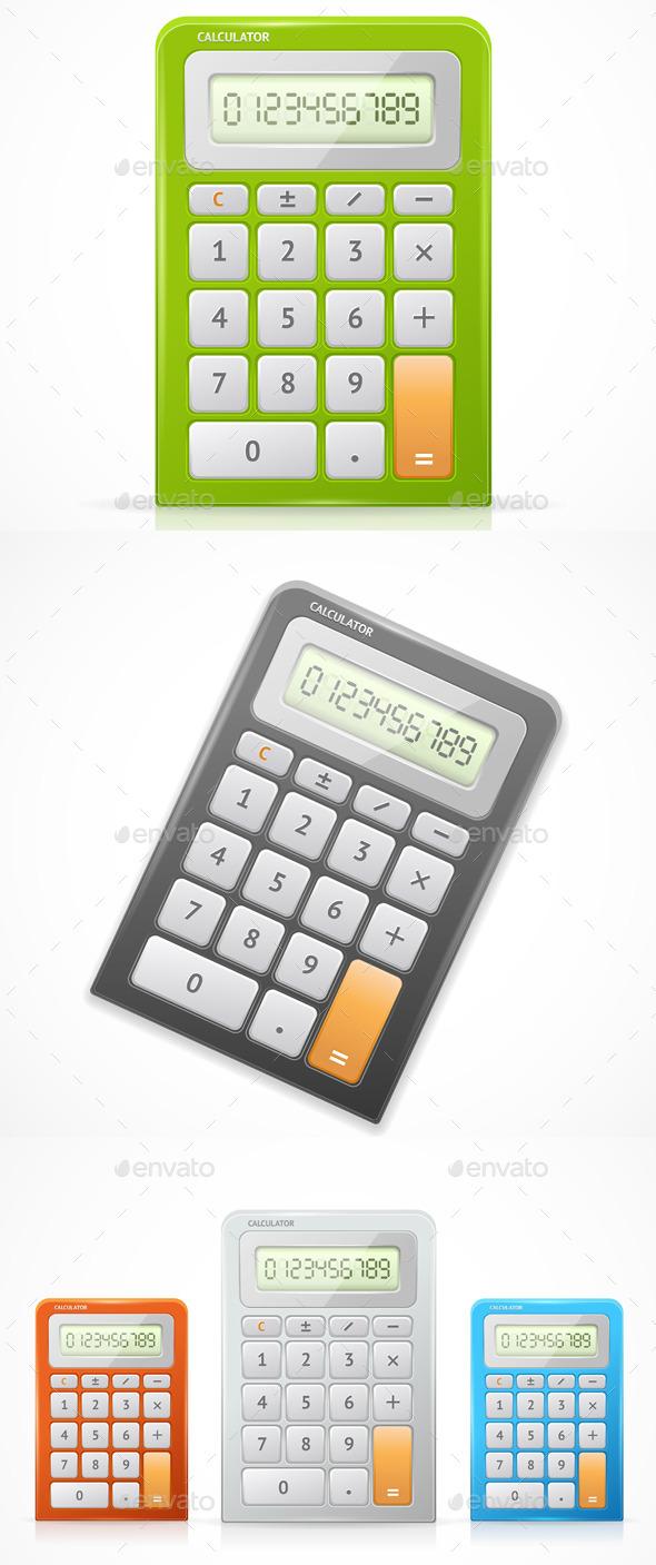 Vector Colorful Calculator Set - Objects Vectors