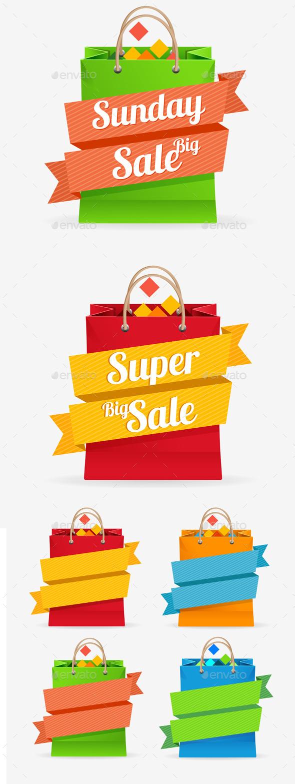 Vector Sale Bag Labels Set - Commercial / Shopping Conceptual