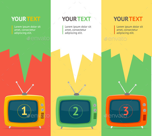Vector Retro TV Option Banner. Flat Design - Communications Technology