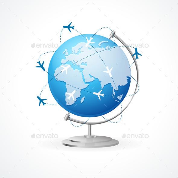 Vector Air Craft Shipping. Transportation Concept - Travel Conceptual