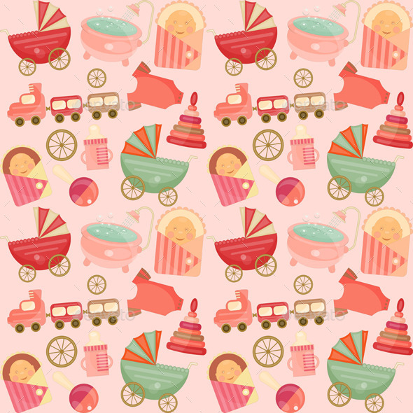 Baby Shower Seamless Backgrounds Set - Backgrounds Decorative