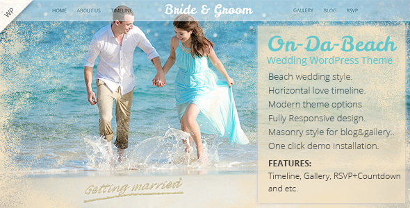 On Da Beach – Wedding WordPress Theme