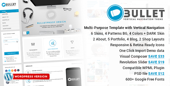 Bullet Multipurpose Vertical Menu WP Theme