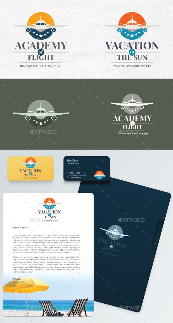 Travel agency or flight school vector logo - Objects Logo Templates