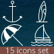 Summertime. 15 perfect summer icons - GraphicRiver Item for Sale