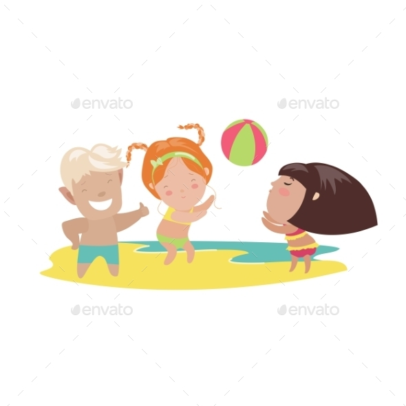 Children Playing Beach Volleyball - People Characters