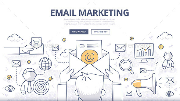 Email Marketing Doodle Concept - Web Technology