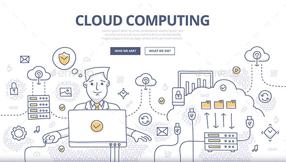 Cloud Computing Doodle Concept - Web Technology