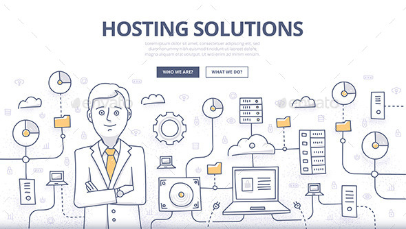 Hosting Solutions Doodle Concept - Web Technology