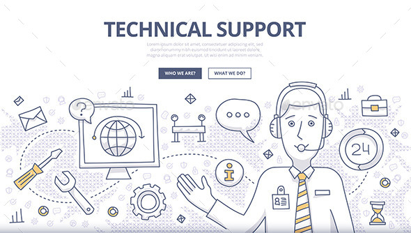 Technical Support Doodle Concept - Technology Conceptual