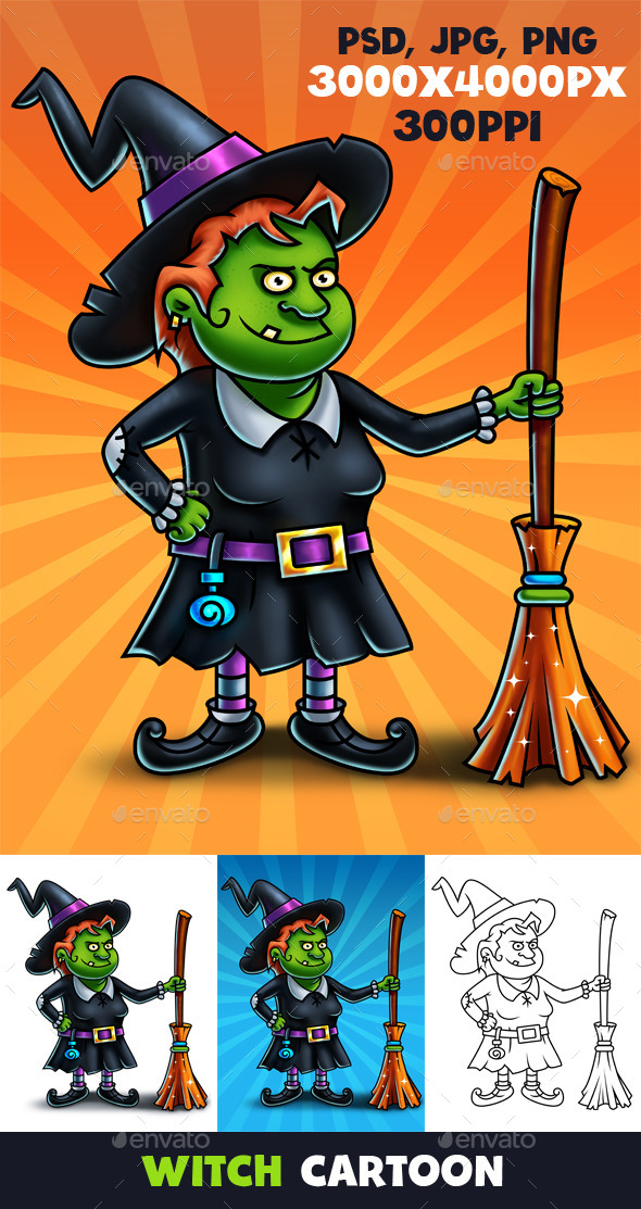 Witch Cartoon Character Digital Painting - Characters Illustrations