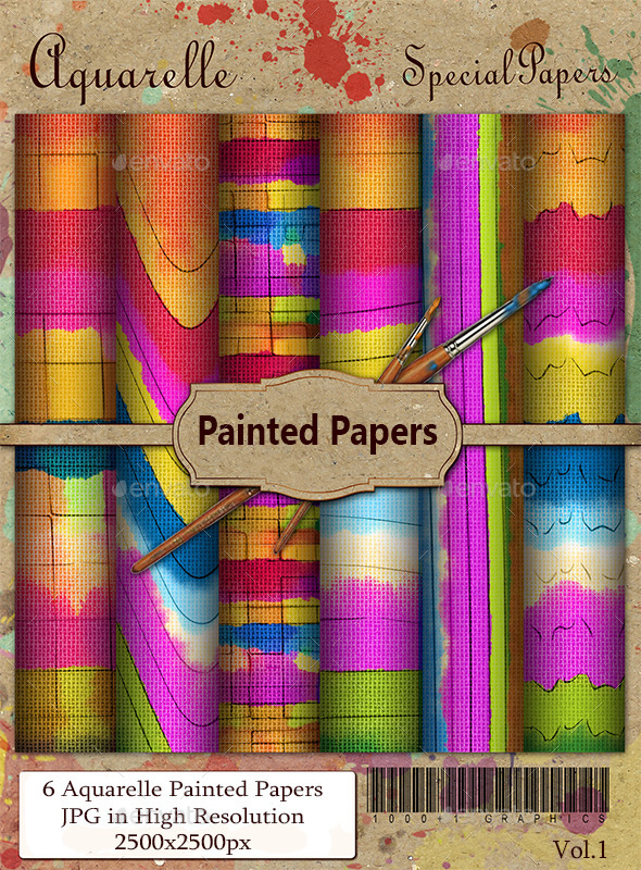 Aquarelle Painted Papers - Miscellaneous Backgrounds