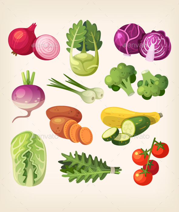 Set of Colorful Vegetables - Food Objects
